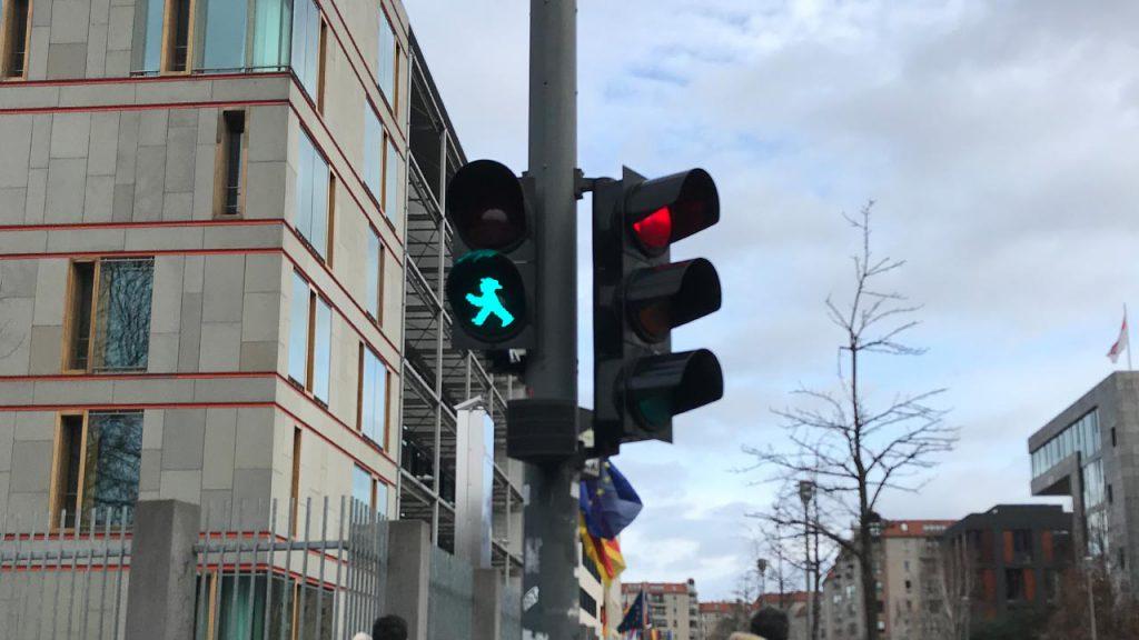 Ampelmann crossing signal in central Berlin.