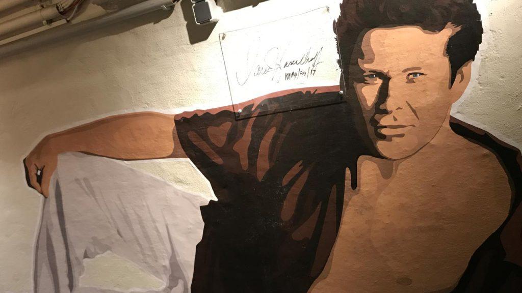 David Hasselhoff mural in the Circus Hostel, Berlin.